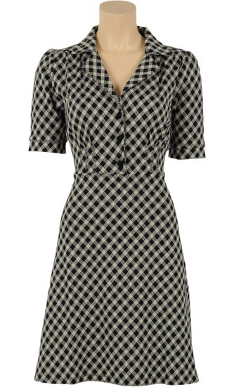 € 94,95 | Vintage Inspired Winter | ♡ | Diner dress Wiggle| #Checked #pattern | Black & white | ♡ | King Louie special AW14