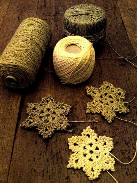 crocheted snowflakes.