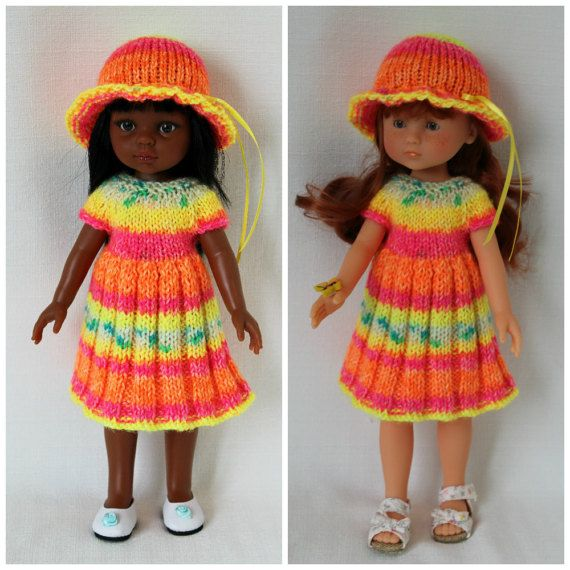 Knitted dress and hat for Paola Reina doll by CSKrafdollscloset