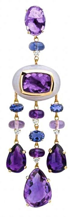 ☆ Gemstone and diamond earring by Antonini ♥   http://pinterest.com/pin/516154807263787915/ ✤