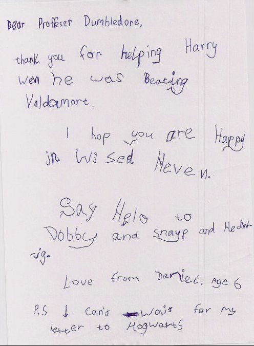 so cute. a letter to dumbledore from a 6 year old