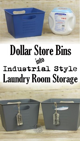 Laundry Room Storage from Plastic Dollar store bins. This makeover is so easy! Just paint and the cute labels.  I can't wait to try it! .jpg