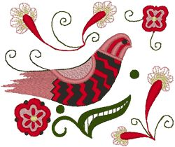 This design is from the Alfold or lowland area of Hungary. The colors in Alfold embroidery range from pink to red, beige to brown, pale green to avacado, with touches of black for accent. In keeping with the tradition of a very open and hand embroidered