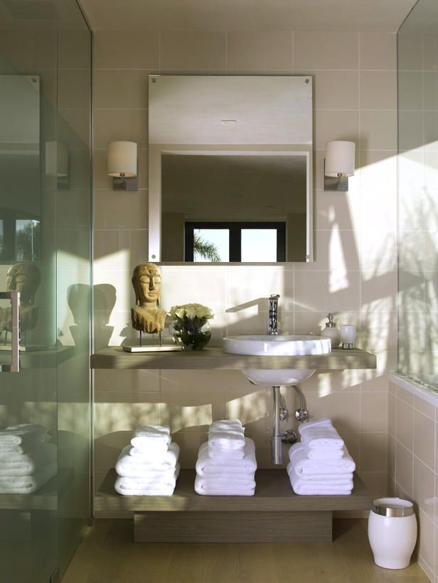 I just love how the space in as small as it is, is designed. I just like the underneath of the vanity! I just love the Buddha statue on top of the vanity. Nothing busy... Just right! HLF  Contemporary | Bathrooms | Christopher J. Grubb : Designers' Portfolio : HGTV - Home & Garden Television