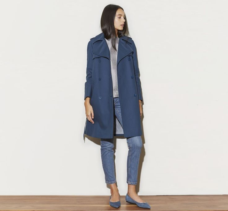 March 2014: Tocca Short Trench in Blue. Alexander Wang Crew Neck Shell Top in Black/White Plaid. A.P.C. Jean Court in Indigo. Acne Studios Aida Pointed Flat in Blue Suede.