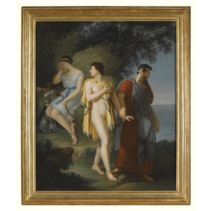 FROM THE COLLECTION OF GIANNI VERSACE VILLA FONTANELLE, MOLTRASIO. Circle of Anne Louis Girodet de Roucy Trioson, called Girodet Trioson A CLASSICAL SCENE WITH A YOUTH BEING LED AWAY FROM A YOUNG NYMPH BY HIS FATHER, POSSIBLY PYRAMUS BEING LEAD AWAY FROM THISBE Inscribed on the reverse: Il Marchese di Gioiosa Caracciolo / ........ 18...... / ed all'ornatissimo Sigr: Conte Filiberto Avogadro di Colobiano etc. etc. / D.D.D