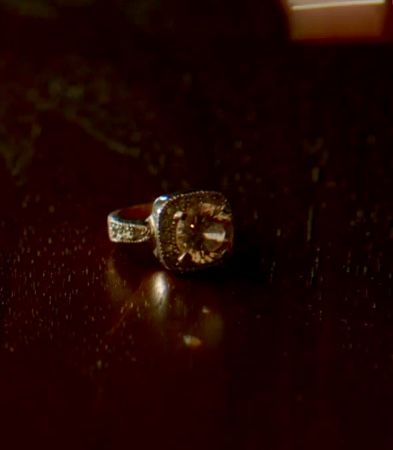 Revenge - Emily Thorne character's engagement ring . Pink diamond in antique grey black setting