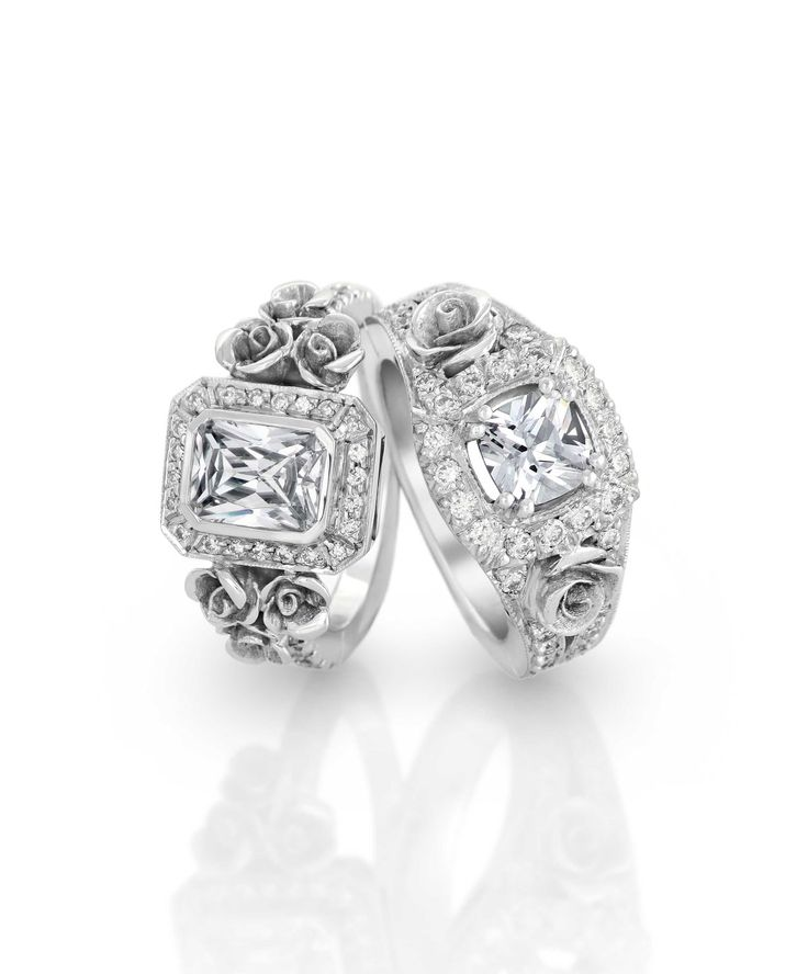 White gold [750] rose engagement rings set with diamonds