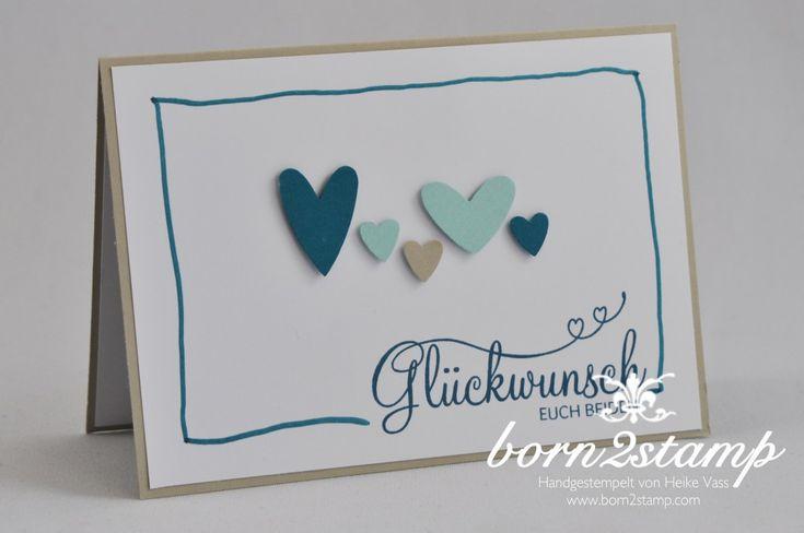 STAMPIN' UP! born2stamp Hochzeitskarte - Wedding - Perfekter Tag - Herz-Stanze