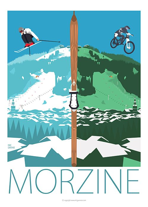 New Artwork designed for Morzine Avoriaz Ski Resort ! Inspired byHenry Reb and its famous artwork «Chamonix Eté / Hiver»