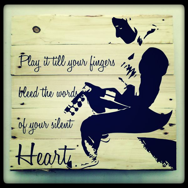 Pallet art for the muso in you.. 50cm x 50cm or 1m x 1m. Gorgeous recycled pallet wood stained in black.