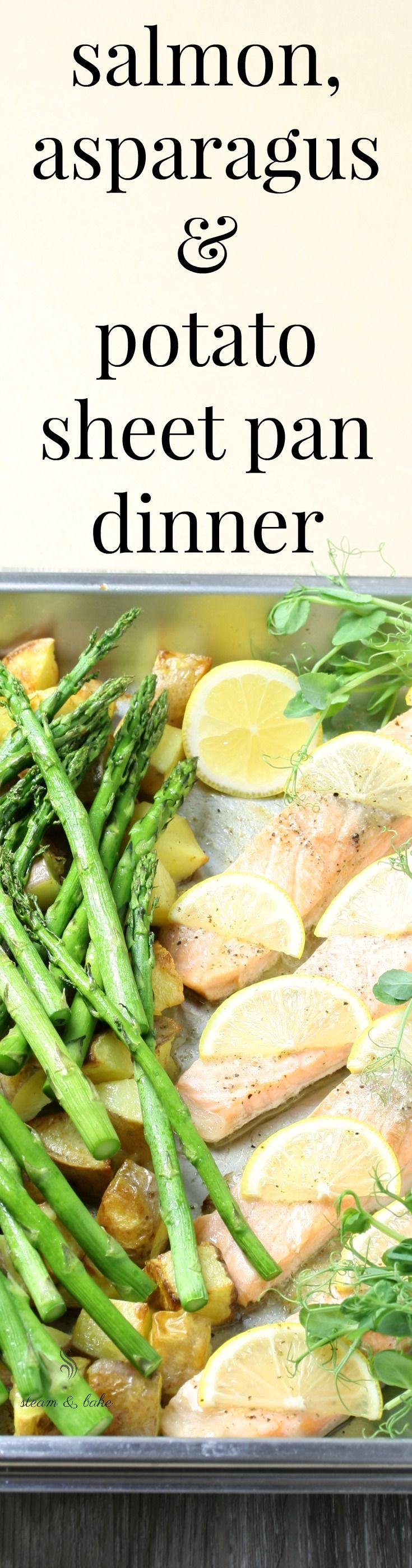 Steam Oven Salmon with Lemon, Asparagus and Potatoes. Easy, speedy healthy recipe, and you can cook it all on the one tray! Complete with cooking methods for both combination steam and steam-only ovens, this will save your weeknight dinners.