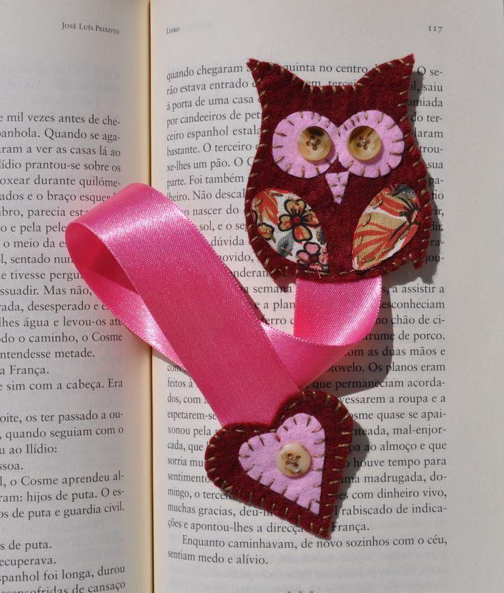 Felt bookmark owl! Ideias da Gi - Bijuteria e Artesanato