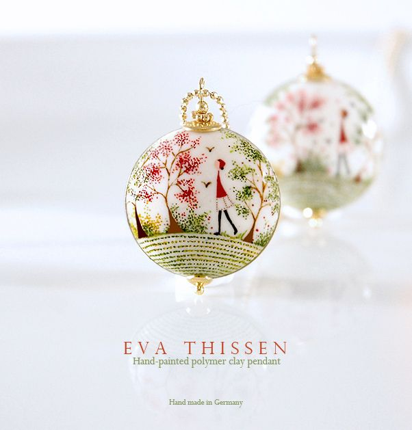 hand-painted polymer clay by Eva Thissen
