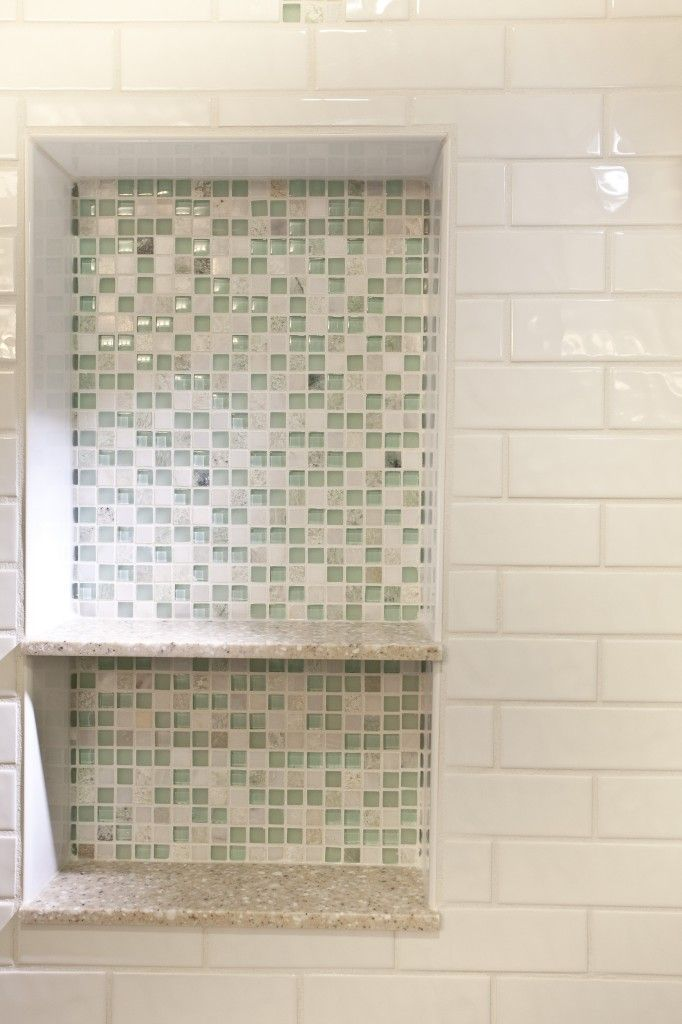Glass tile shower niche bathroom remodel narrow it down for How to put down tile in bathroom