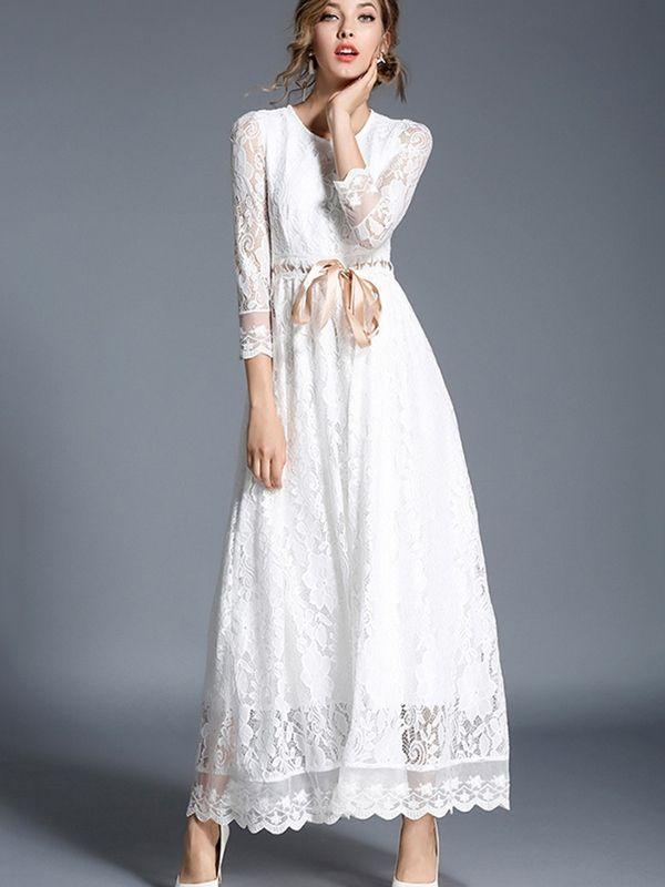 3 4 Sleeve White Womens Lace Dress Lace White Dress Lace Dress With Sleeves Women Lace Dress