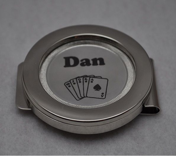 Make this poker chip card guard your own! Laser engraved with your design! Interchangeable money clip!