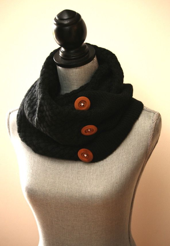 Stay warm and cozy this winter with our amazing Crochet Button Scarf! Crochet out of a soft knitted yarn and adorned with three wooden buttons..... it's so hip and stylish! It is an infinity scarf, bu