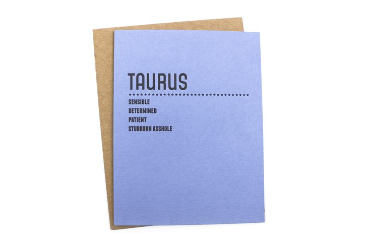 """What's your sign? Give your favorite Taurus some birthday love or just remind them of their best and most interesting qualities with this cute card.Dimensions: 4.25"""" by 5.5""""Details: Letterpressed on 100% tree free paper.Founder of Sapling Press, Lisa Krowinski, describes herself as a """"Typography-..."""