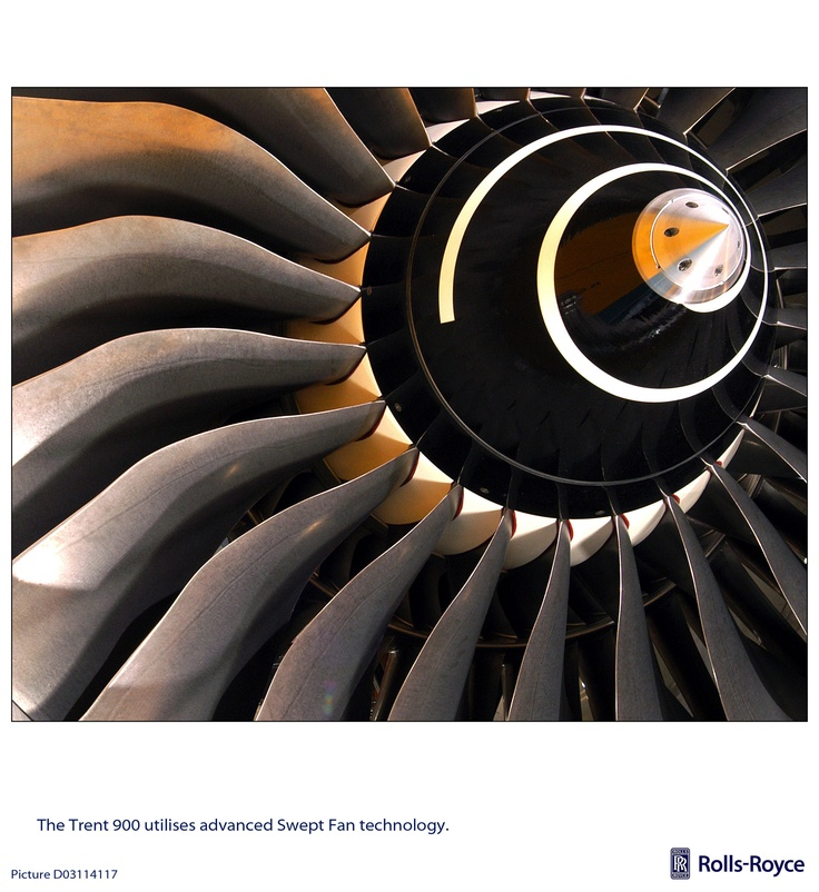 Form and function. Beautifully efficient. Fan from Rolls-Royce Trent 900.