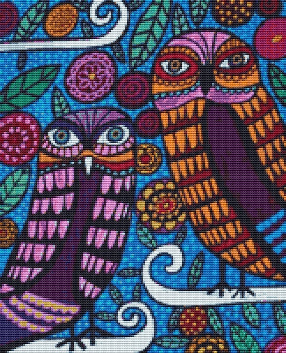 Modern Cross Stitch Kit By Heather Galler 'Two Owls'