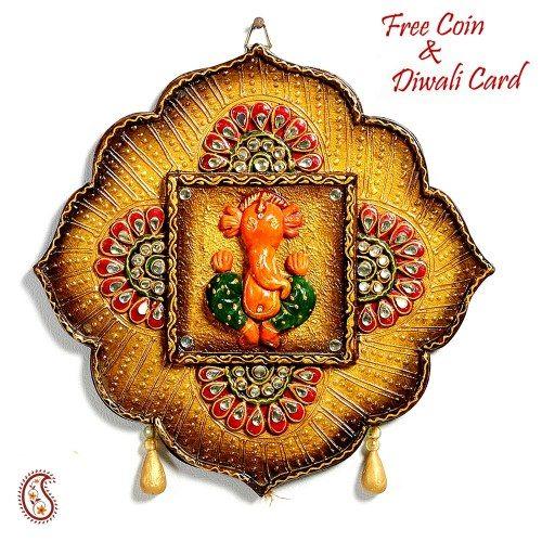 Lotus Leaf Rustic finish Ganesh Wall Art in wood  - Online Shopping for Diwali Pooja Accessories by Apno Rajasthan