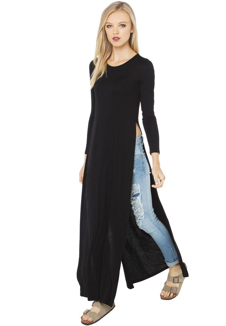 Vestido Maxi manga larga-negro 16.53