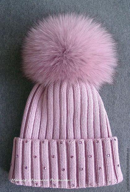 Зимняя шапочка с меховым помпоном - женские вязаные шапки,Зимние шапочки
