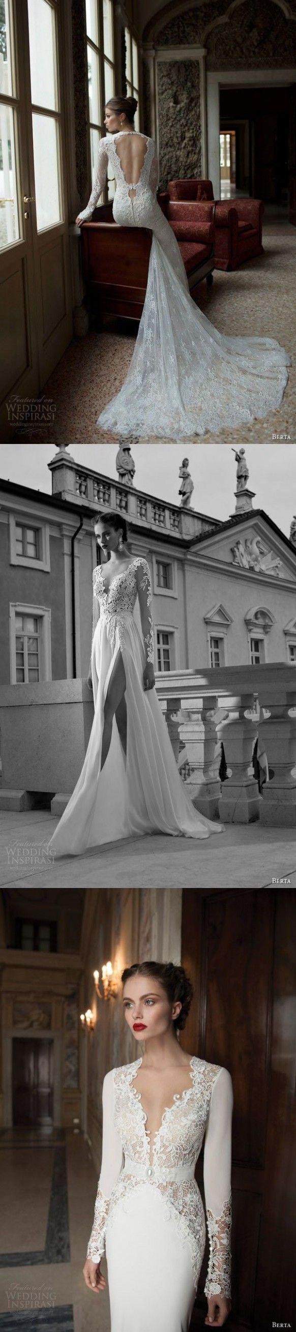 Robe manches longues de mariage dentelle - robes de mariée.