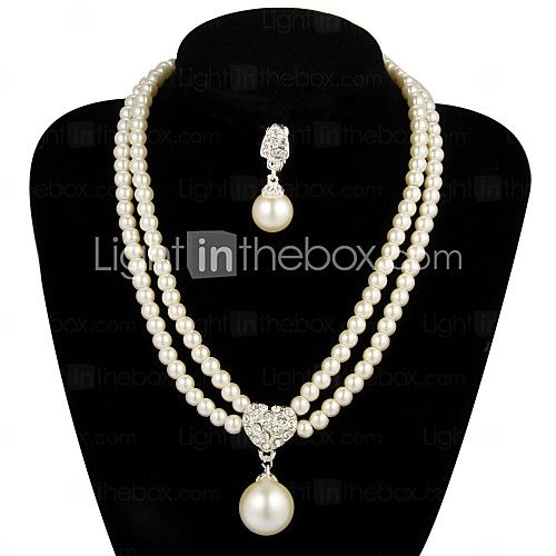 Jewelry Set Women's Anniversary / Wedding / Engagement / Gift / Party Jewelry Sets Pearl / Alloy Pearl Necklaces / Earrings Ivory - USD $7.19