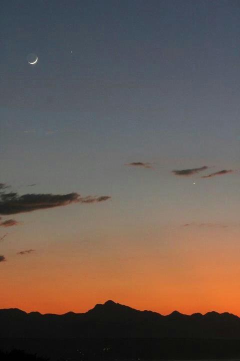 Moon, Venus, Jupiter sunrise Plettenberg Bay