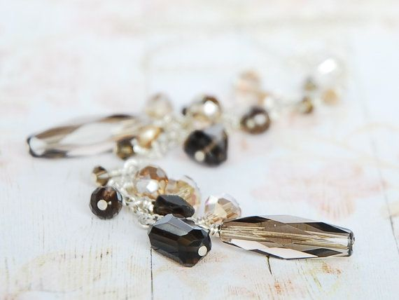 Peach Sapphire Necklace Smoky Quartz and Crystal by FLEURDELIER