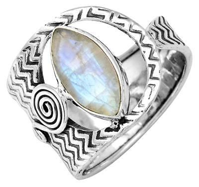 Rainbow Moon Stone Ring Solid 925 Sterling Silver Jewelry IR36645