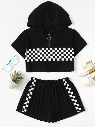 Gingham Zip Up Hooded Top With Shorts -SheIn(Sheinside) – #Gingham #Hooded #SheI…