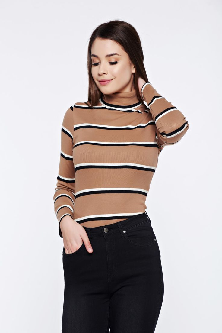 Top Secret peach casual knitted cotton sweater with stripes, elastic fabric, long sleeves, horizontal stripes, women`s sweater