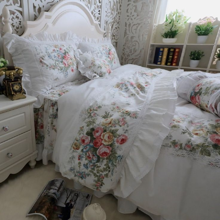 fadfay designer wei bettw sche set romantic roses print. Black Bedroom Furniture Sets. Home Design Ideas