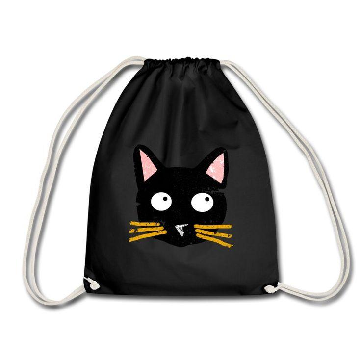Tasche, Jutebeutel mit süßer, schwarzer Katze mit gelben Schnurrbarthaaren. Schwarzer Kater. noull.