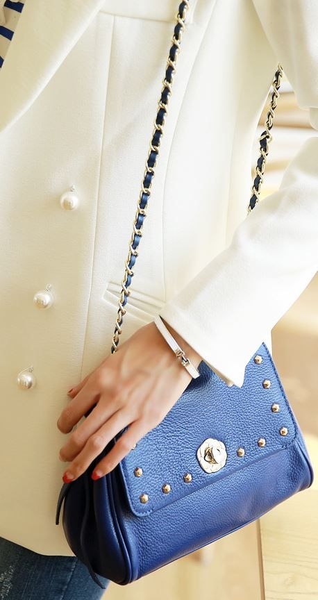StyleOnme_Studded Crossbody Leather Bag #bag #shoulderbag #crossbody #leater