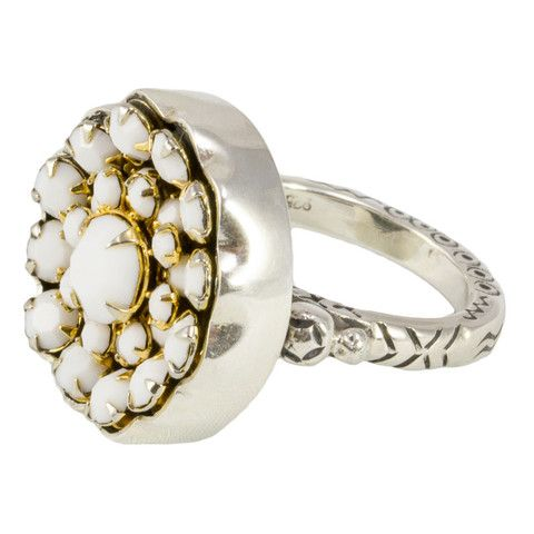 """Antique Button Ring by Elizabeth Ngo - White """"Flower"""" Beading Button from late 1800's converted into a ring. Available at www.seasonsemporium.com"""
