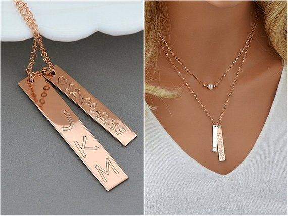 Nameplate Necklace Roman Numeral Necklace Vertical Bar