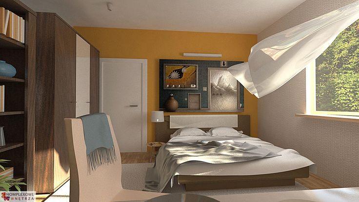 Aranżacja sypialni wystrój nowoczesny w kolorach brązowy, żółty - projekt wnętrza o id 6633521 w homplex.pl, Zestaw wyposażenia za  14593 zł ($4560)