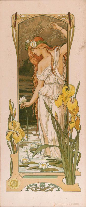 Carte postale de style Art Nouveau, reproduction d'une œuvre d'Elizabeth Sonrel.                                                                                                                                                      Plus