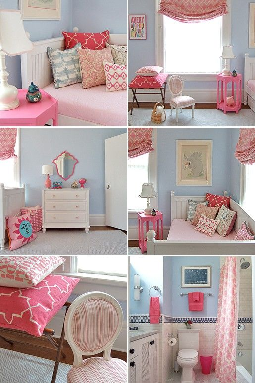 : Colors Combos, Girls Bedrooms, Blue Wall, Big Girls Rooms, Little Girls Rooms, Colors Schemes, Pink Accent, Girl Rooms, Kids Rooms