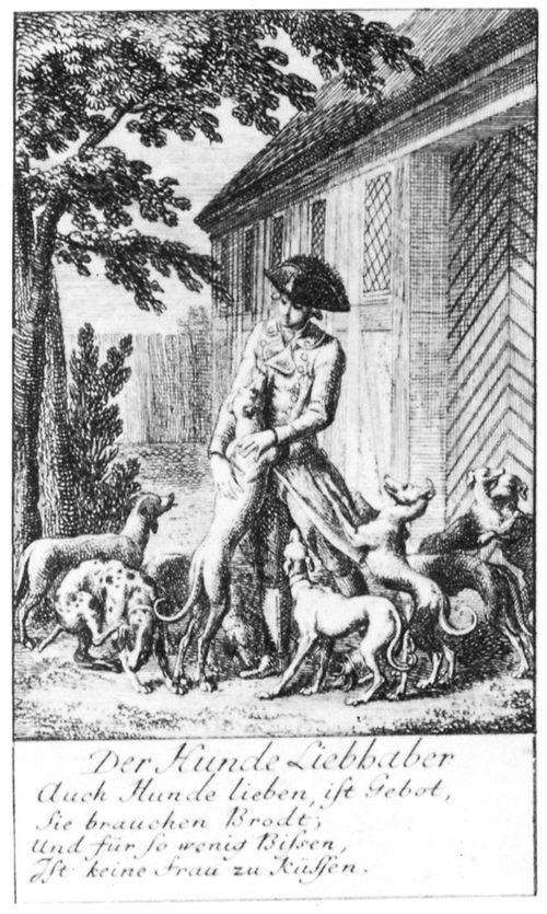 Daniel Nikolaus Chodowiecki: Steckenpferdreitereien: Der Hunde Liebhaber (Hobbies: The Dog Lover), 1781