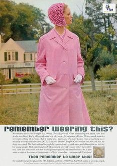 Sexual health week 2010: Funny 1960's vintage woman in pink coat, white gloves and pink hat. #campaign  #poster  #charity  #health  #sexualhealth  #sex #condom