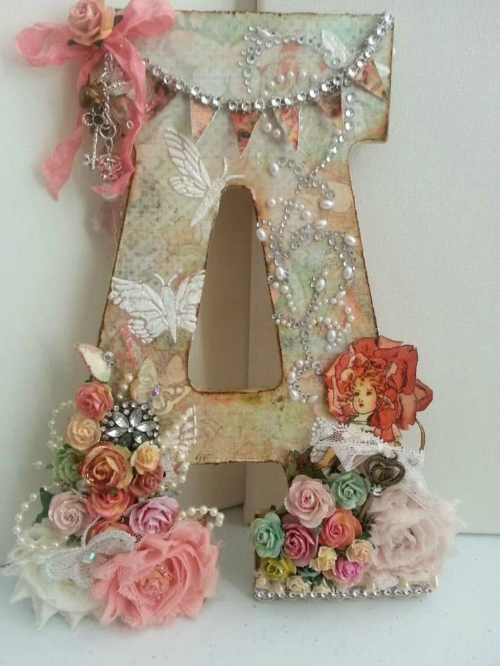 """A"" Altered Art Letter Using Scrapbook Paper,  Flowers, Paint, Ribbon, And Embellishments @kcapdeville"