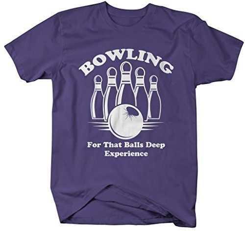 Shirts By Sarah Men's Funny Bowling T-Shirt Balls Deep Experience Shirts
