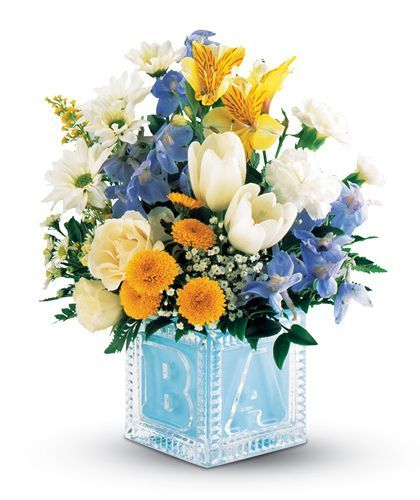 14 best new baby flowers images on pinterest flower arrangements telefloras crystal baby block for a boy at stadium flowers for 4498 negle Image collections