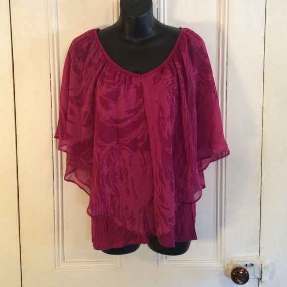 Dark & light pink top  Dark and light pink flowy top. Batwing style with built in maroon tank top underneath. Very cute! LC Lauren Conrad Tops Blouses