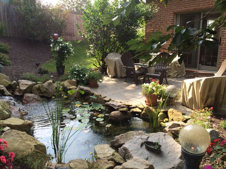 Patio shade garden pond waterfall soergel landscapes for Koi pond shade ideas